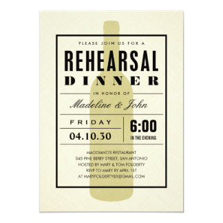 Modern Wine Wedding Rehearsal Dinner Invitations