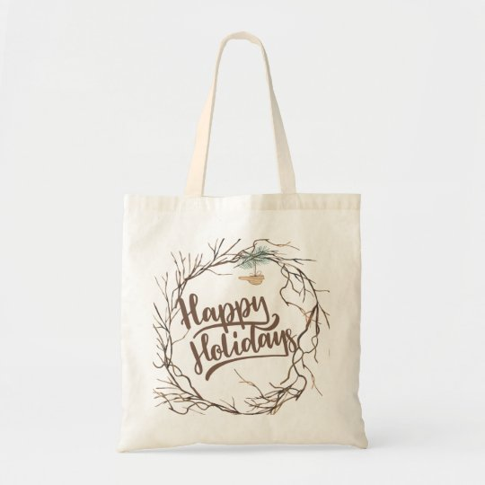 Modern winter forest dried branches happy holidays tote bag