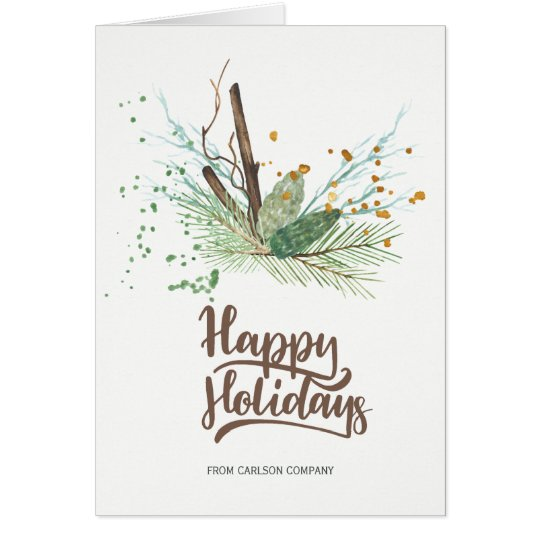 Modern winter forest dried branches pine corporate card