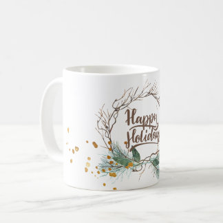 Modern winter forest pine branches wreath holidays coffee mug
