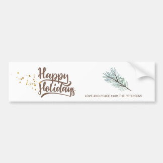 Modern winter forest pine happy holidays script bumper sticker