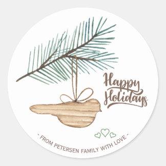 Modern winter forest wooden bird pine holidays classic round sticker