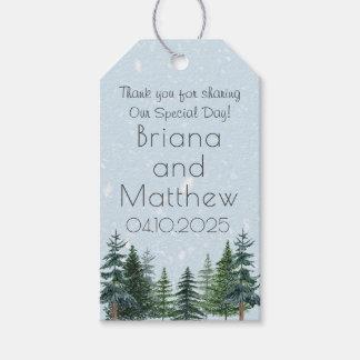 Modern Winter Pine Tree Wedding Favors Gift Tag