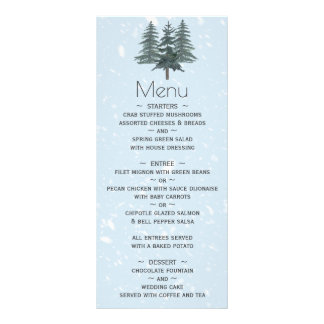 Modern Winter Pine Tree Wedding Menu
