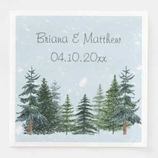 Modern Winter Pine Trees Wedding Dinner Napkin Disposable Napkin