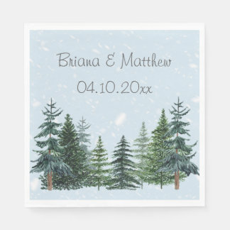 Modern Winter Pine Trees Wedding Luncheon Napkin Paper Napkin