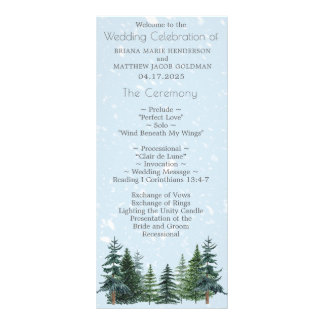 Modern Winter Pine Trees Wedding Program