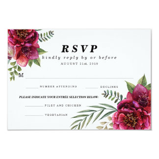 Modern Winter Red Flowers Menu Choice Wedding RSVP Card