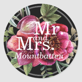 Modern Winter Red Flowers Wedding Favor Mr. Mrs. Round Sticker