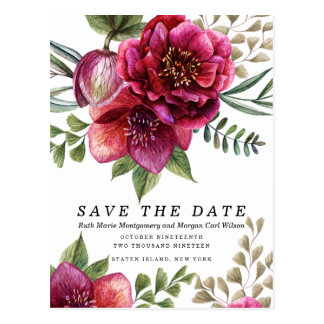 Modern Winter Red Flowers Wedding Invitation Postcard