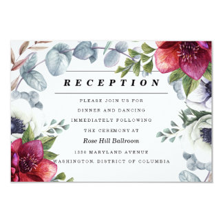 Modern Winter Red Flowers Wedding Reception Card
