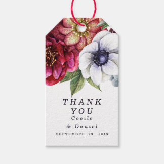 Modern Winter Red Flowers Wedding Thank You Favor Pack Of Gift Tags