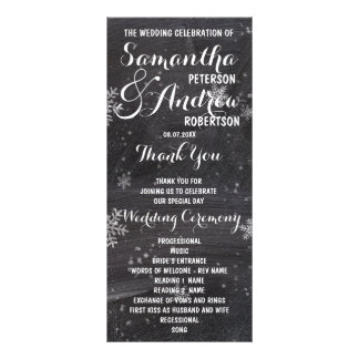 Modern winter snowflake chalkboard wedding program custom rack cards