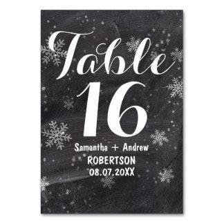 Modern winter snowflakes chalkboard table number