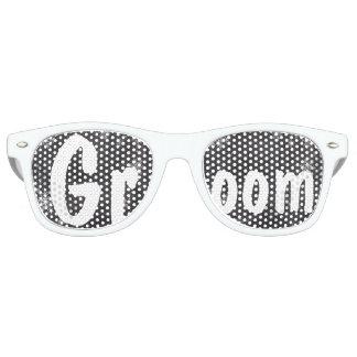 Modern winter snowflakes chalkboard wedding Groom Sunglasses