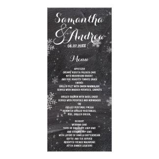 Modern winter snowflakes chalkboard wedding menu