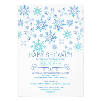 "Modern Winter Snowflakes Neutral Baby Shower 5"" X 7"" Invitation Card"