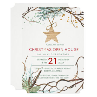 Modern winter wood branches Christmas open house Card