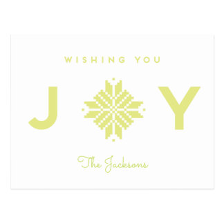 Modern Wishing You Joy Holiday Bold Chartreuse Postcard