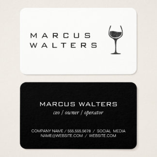 Modern with Wine Glass Icon Business Card