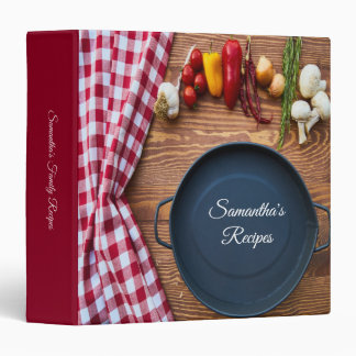 Modern Wood And Red Gingham Recipe 3 Ring Binder