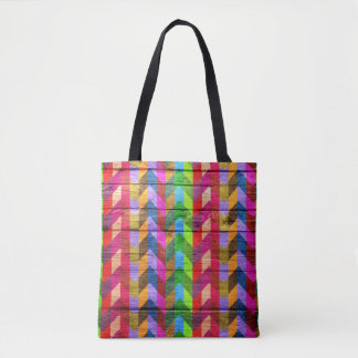 Modern Wood Colorful Chevron Pattern #32 Tote Bag