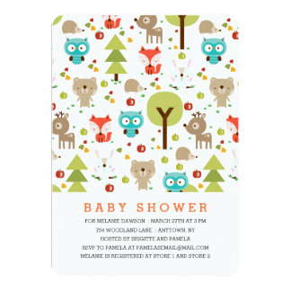Modern Woodland Friends Neutral Baby Shower Card
