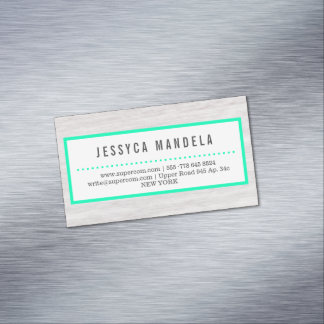 Modern Woodworker with Green Magnetic Business Card