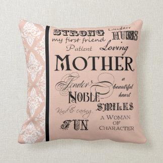 Modern Word Cloud Mother Text Sayings - Blush Throw Pillow