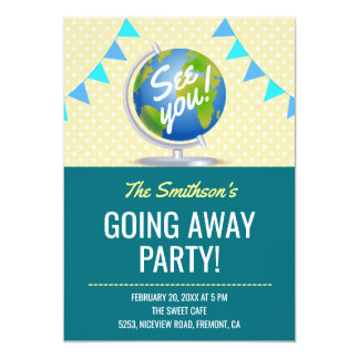 modern world globe going away party invite - Going Away Party Invite