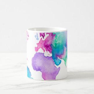 Modern world map globe bright watercolor paint classic white coffee mug