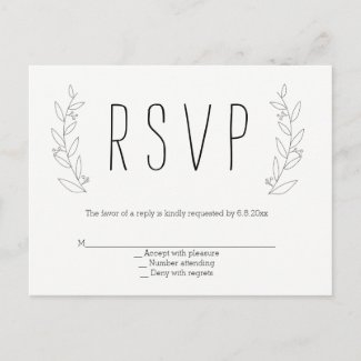 Modern wreath rustic wedding rsvp postcards