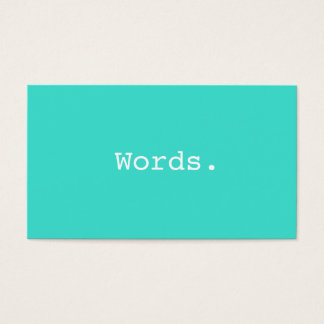 Modern writer publisher editor turquoise blue business card