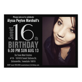 "Modern XL Photo Sweet 16th Birthday Party 4.5"" X 6.25"" Invitation Card"
