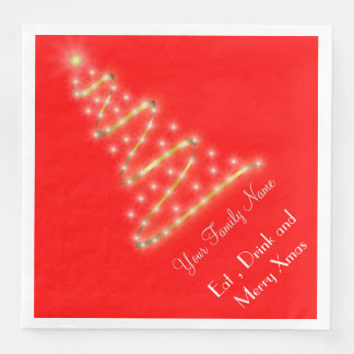 Modern Xmas tree in bright red Disposable Napkins