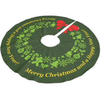 Modern Xmas Wreath composed of Christmas motifs, Brushed Polyester Tree Skirt