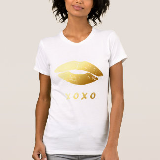 Modern XOXO Hugs Kisses with Classy Gold Lips T-Shirt