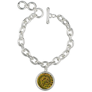 Modern Yellow Abstract Charm Bracelet