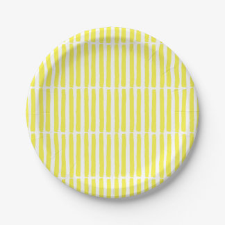 Modern Yellow Abstract Party Paper Plates 7 Inch Paper Plate