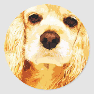 modern yellow American cocker spaniel Classic Round Sticker