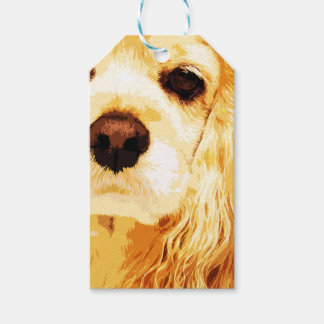 modern yellow American cocker spaniel Gift Tags