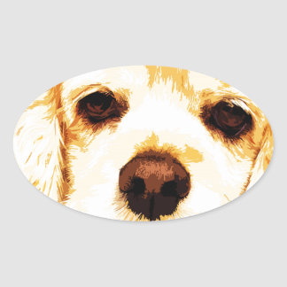 modern yellow American cocker spaniel Oval Sticker