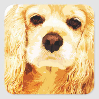 modern yellow American cocker spaniel Square Sticker