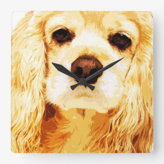 modern yellow American cocker spaniel Square Wall Clock