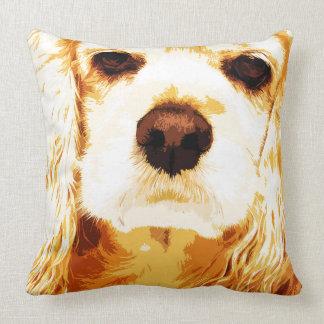 modern yellow American cocker spaniel Throw Pillow