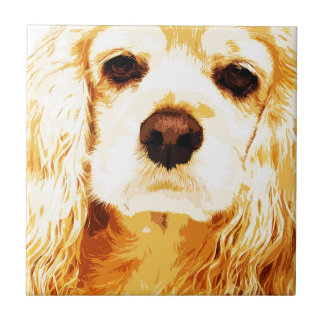modern yellow American cocker spaniel Tile