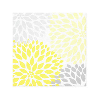 Modern Yellow and Gray Dahlia Square Wall Art md