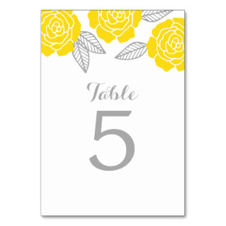 Modern Yellow and Gray Rose Wedding Table Card
