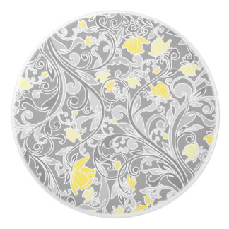 Modern Yellow and Gray Swirly Floral Ceramic Knob