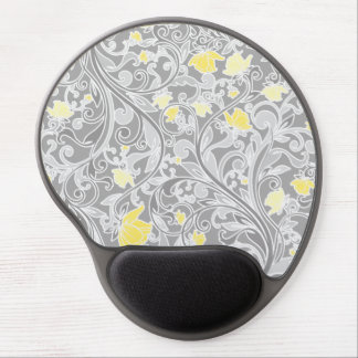 Modern Yellow and Gray Swirly Floral Gel Mouse Pad